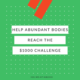 "Green square with red ornamentation and text ""help abundant bodies reach the $1000 challenge and the url for the fundraiser, linked in the text of the blog post"